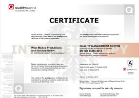 West Medica EN ISO 13485:2012 Certificate